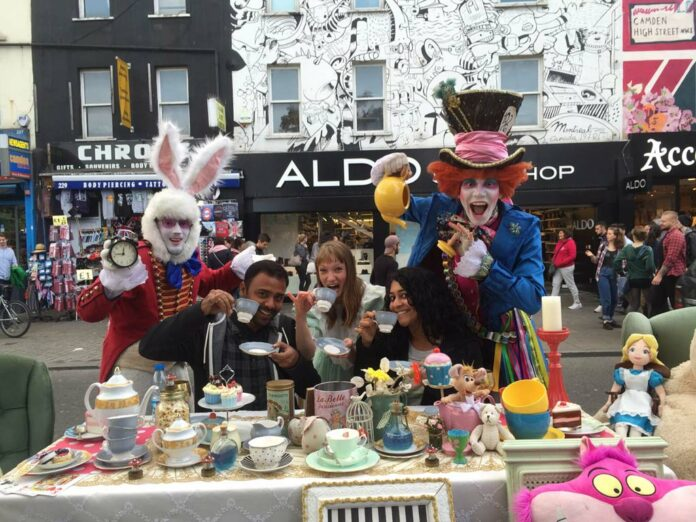 Tea-Party-outside-Camden-Market,-London